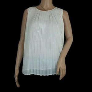 Zara Basic Pleated White Blouse Top XS